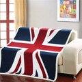 Двойной слой толщиной сша сша великобритания англия британский флаг флис шерпа плюшевые искусственного меха диваном подарок детское одеяло бросок одеяла 130 x 160 см