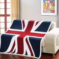 double layer thick USA US UK ENGLAND BRITISH flag fleece sherpa plush faux fur  sofa gift baby  blanket throw blankets 130x160cm