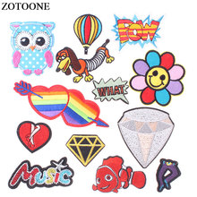 ZOTOONE Cute Iron on Embroidered Patches for Clothes T-shirt Badge Cheap Letter Love Animal Apparel Sew Applique Fabric Stickers