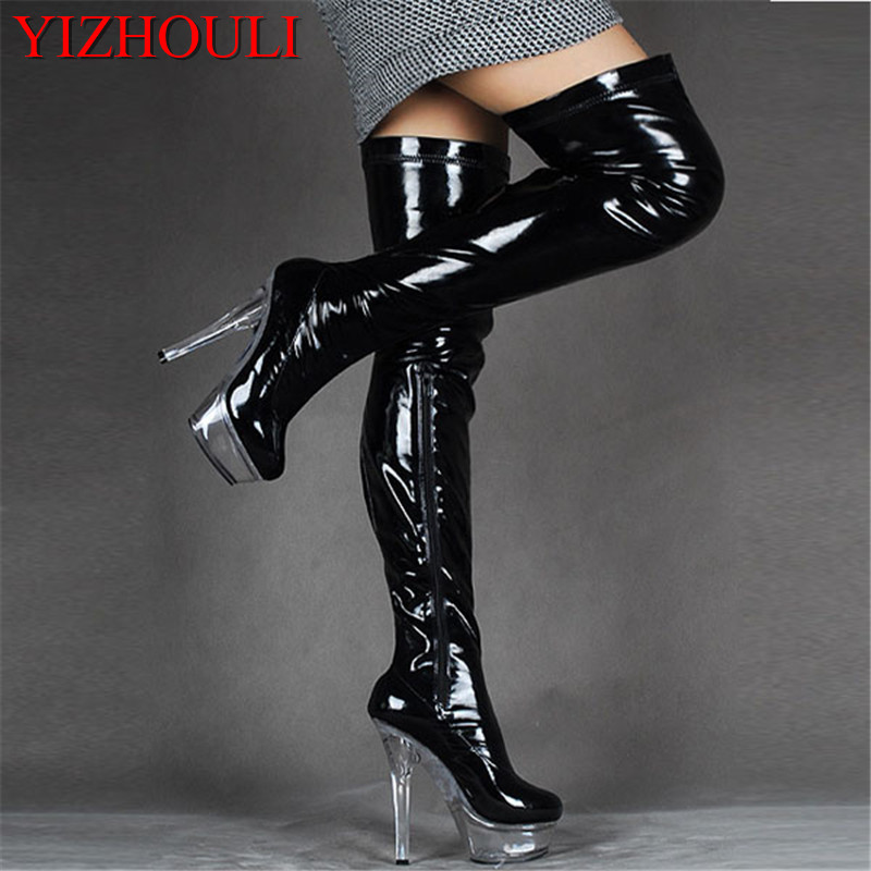 15cm high heeled shoes sexy over the knee long boots crystal shoes stage shoes motorcycle boots