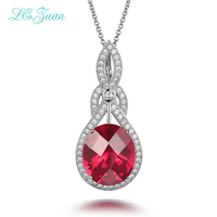 I Zuan 10 55ct Red Stone Pendant 100 925 Sterling Silver Necklace For Women Checkerboard Gemstone