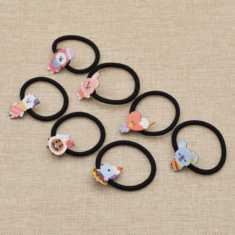 1 Piece Kpop Bts Bt21 Lovely Cartoon Animal Elastic Hair Bands For Girls Lady Ponytail Rubber Band Hair Ties Rope Accessories Apparel Accessories