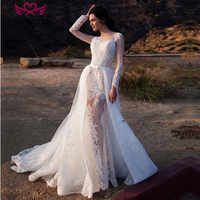 Sexy Illusion 2 in 1 Mermaid Wedding Dresses 2019 Detachable Train Long Sleeve Lace Appliques Fashion Style Wedding Dress W0083