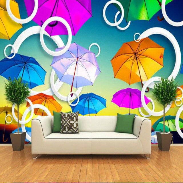 Ombrello colorato volo 3d grande mural wallpaper camera da letto ...