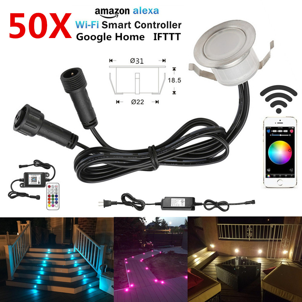 Responsible 50pcs/lot Smart Wifi Phone App Control Rgb/rgbw 31mm 12v Waterproof Terrace Stair Step Led Deck Rail Lights For Alexa Googlehome Led Lamps Lights & Lighting
