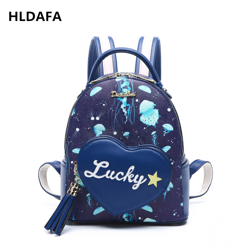 HLDAFA New Summer Love Heart Shape Women Backpacks Landscape Fresh Shoulder Bag Casual Backpack Bag Printing