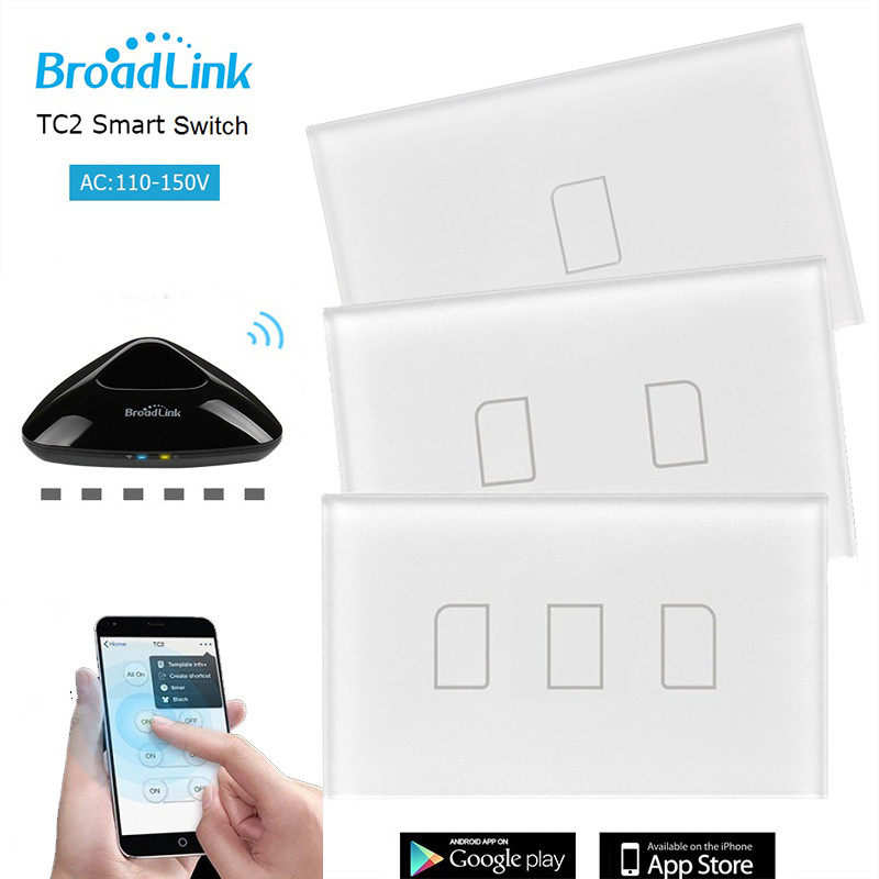 Original Broadlink TC2 1Gang 2Gang 3Gang 110V-150V US Touch Switch Smart Home Automation Wireless Wifi Control Light Wall Switch