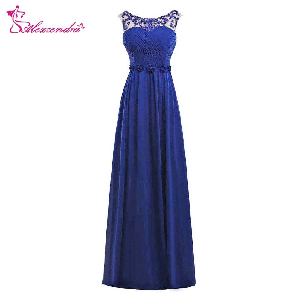 Alexzendra bleu Royal perlé une ligne robes de bal encolure dégagée en mousseline de soie longues robes de soirée robe de soirée