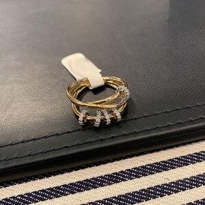Image 2 - SLJELY אמיתי 925 סטרלינג כסף צהוב זהב צבע משולש מעגלי אצבע טבעת עם הזזה טבעות פייב זירקון נשים תכשיטי יוקרה