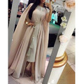 Scoop Neck Musulmana Abaya Kaftan Vestidos de Noche Robe De Soirée A-line Del Vestido de Noche 2016 Nueva Moda de Gasa Largo Vestido Formal