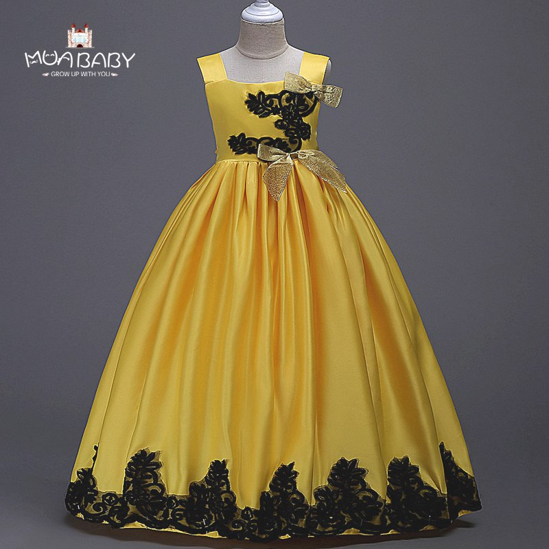 MUABABY 3-14T Girls Deluxe Party Dresses Kids Summer Flower Princess Wedding Ball Gown with Bow Children Bridesmaid Tutu Dress summer 2017 new girl dress baby princess dresses flower girls dresses for party and wedding kids children clothing 4 6 8 10 year
