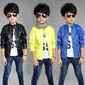 2015 Autumn Leather Coat For Boys Jacket For Boys Trench,Kids Jacket,Baby Jacket,Baby Clothes,Black/Yellow/Blue,Height 95-155cm