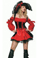 free shipping Sexy red Black Pirate Queen Cosplay Halloween Adult Costume Fancy Dress +Hat Clubwear Wholesales size s 3xl