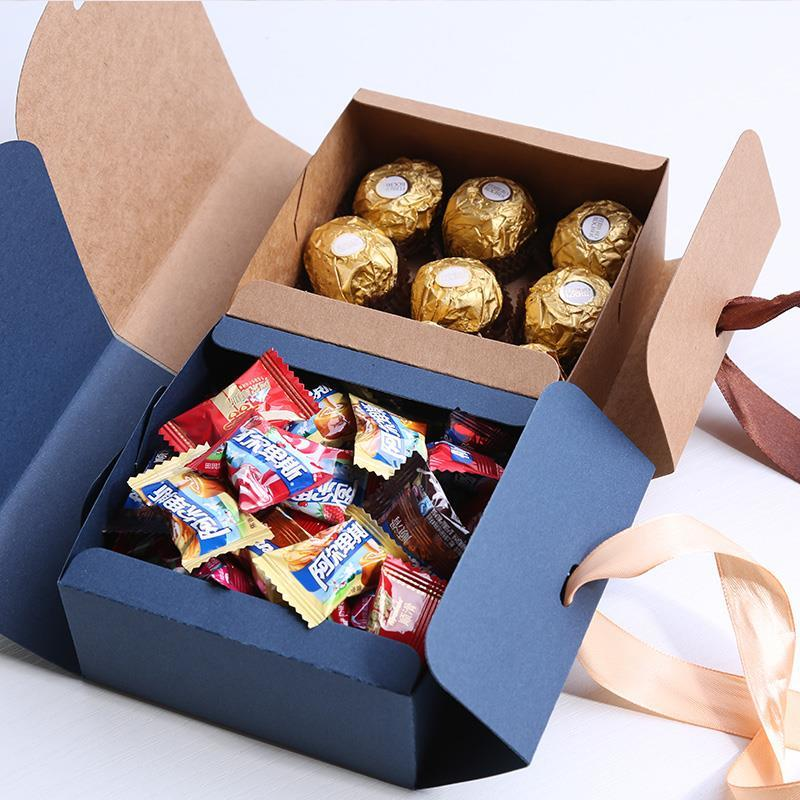 Image 2 - Multiple size Black White Kraft Paper Gift Box Package Wedding Party Favor Candy Boxes with Ribbon-in Gift Bags & Wrapping Supplies from Home & Garden