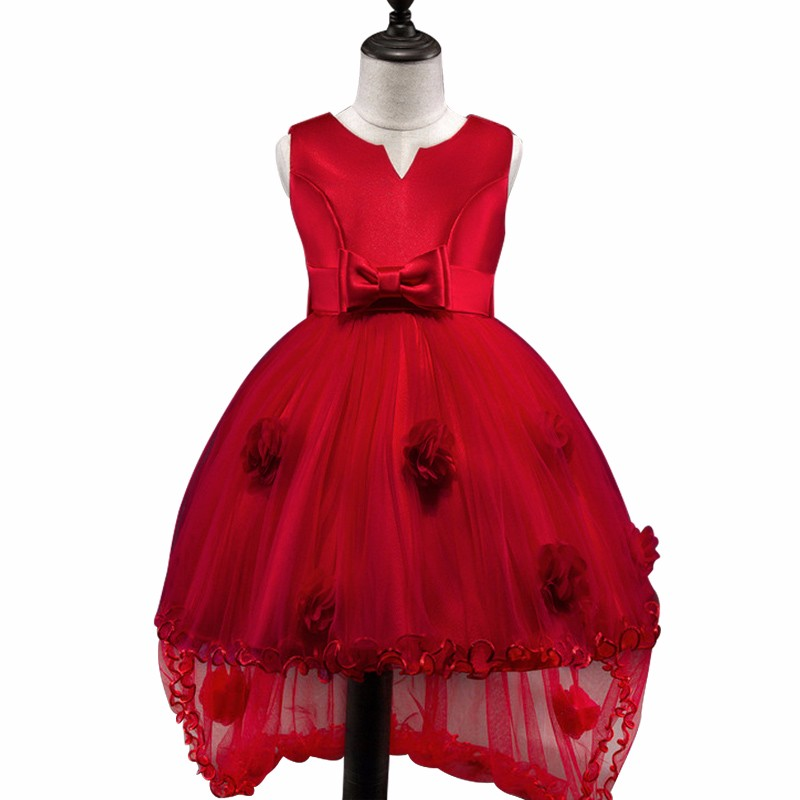 Flower Girl Dress long tail Party Birthday wedding princess Toddler baby Girls Clothes red Children prom Kids Girl Dress fashion flower girl dress party birthday wedding princess dress toddler baby girls clothes v neck children kids girl dresses p34