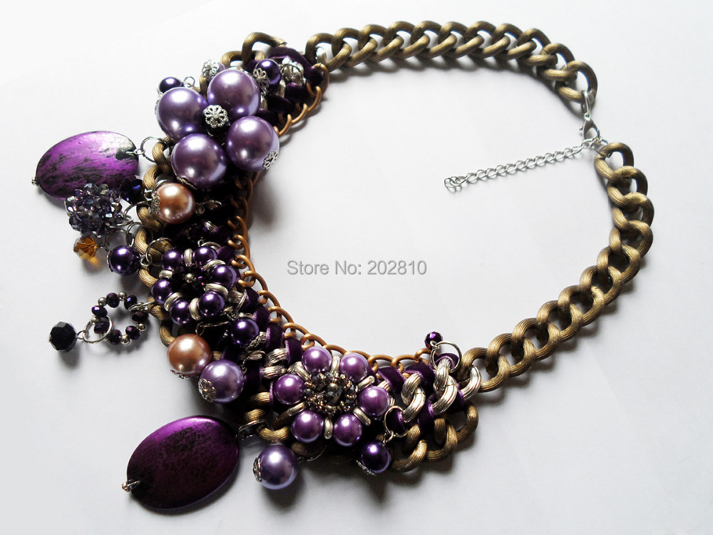 2017 new type purple pearl crystal big chunky rope chokers clavicle necklaces,restoring ancient ways bronze plated necklace ...