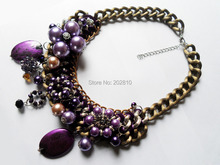 цена на Min order:10USD(Mixed order)Flashion big chunky chokers necklaces,purple pearls crystal necklace(Free shipping)
