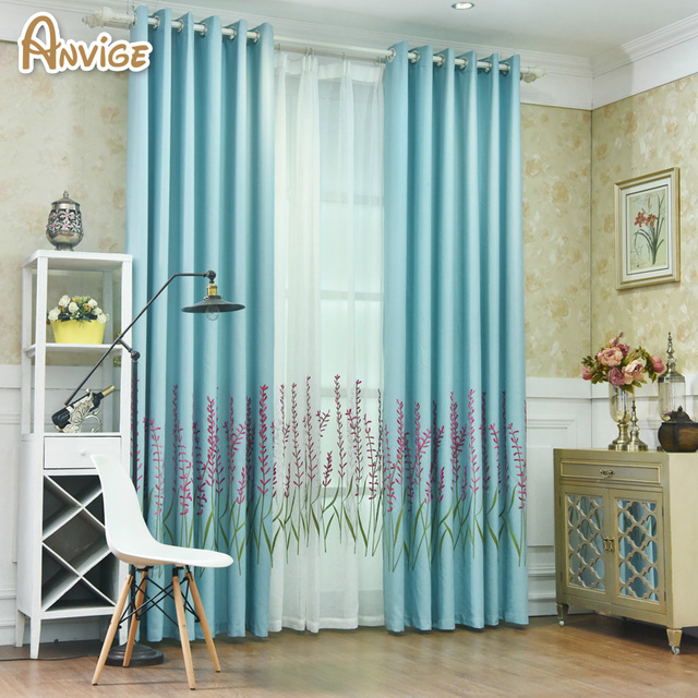 Pastoral Blue Pink Green Blackout Curtain Window Cortina Bedroom Curtains For Living Room