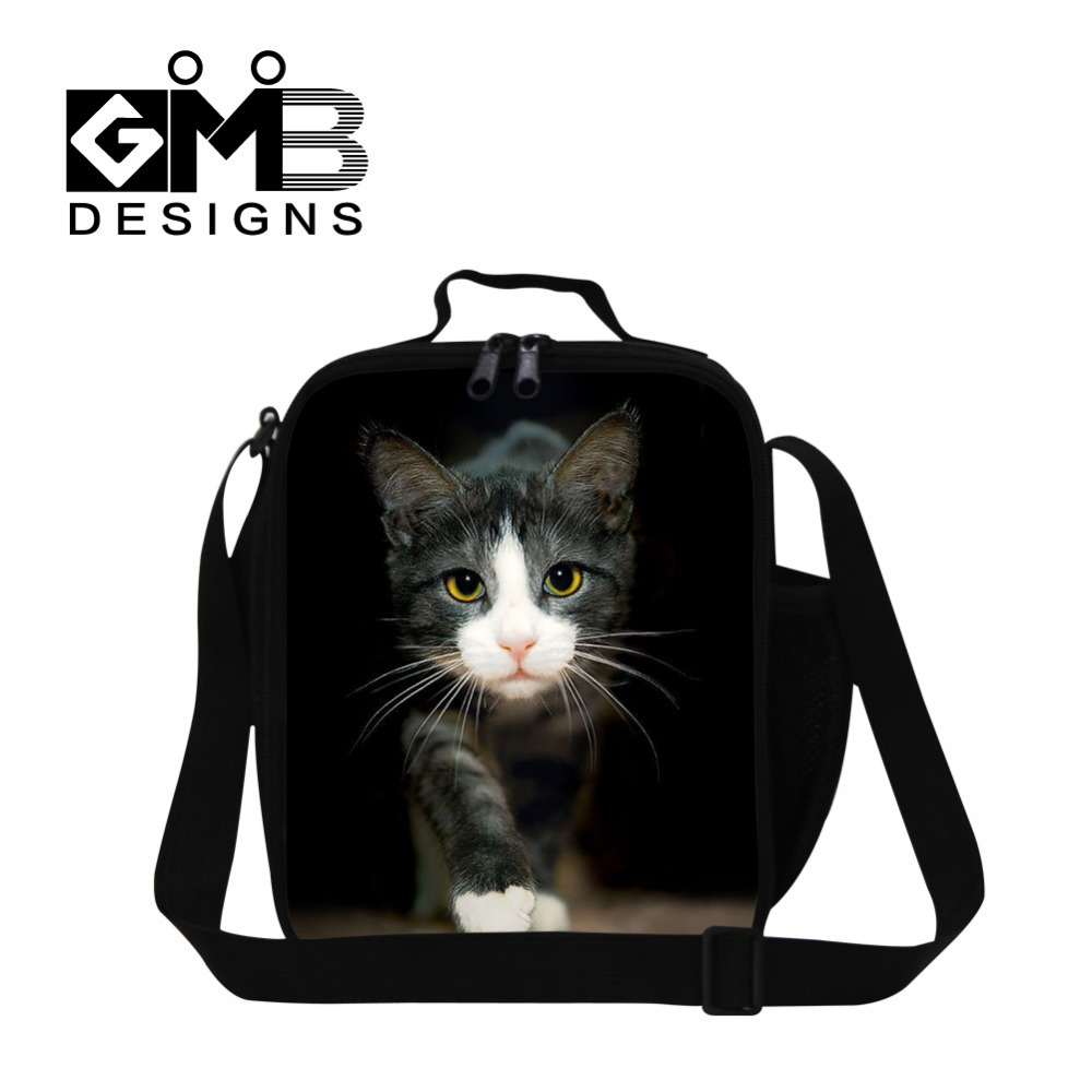 Personalized Animal lunch bag for kids,lunch Cooler bag Pattern cute cat insulated lunch bag for girls school children meal bags