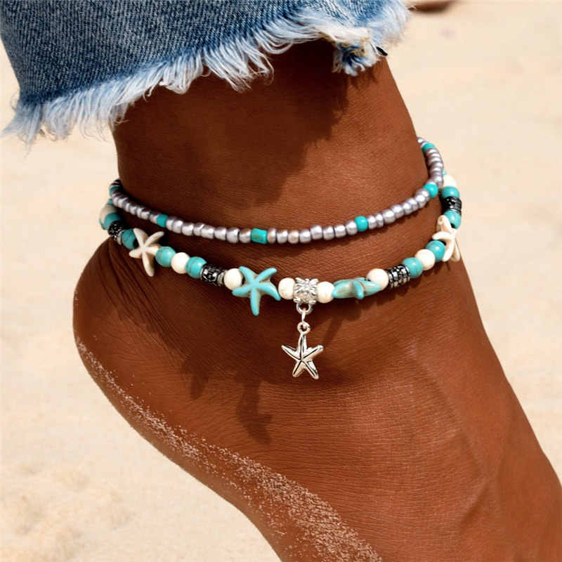 Vintage Star ช้างลูกปัด Anklets สร้อยข้อมือ Boho จี้สร้อยข้อมือ Bohemian Handmade Chain เท้าเครื่องประดับของขวัญ
