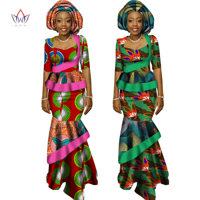 cb1d235bef BRW African Long Print Skirt Maxi Dress Suit Half Sleeve Crops Tops Splice  Dress Bazin African Clothing for Women WY1417