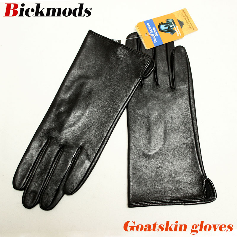 Leather Goatskin Gloves Women's Thin Touch Screen Straight Style Unlined 100% Sheepskin Gloves Outdoor Driving Driver Gloves
