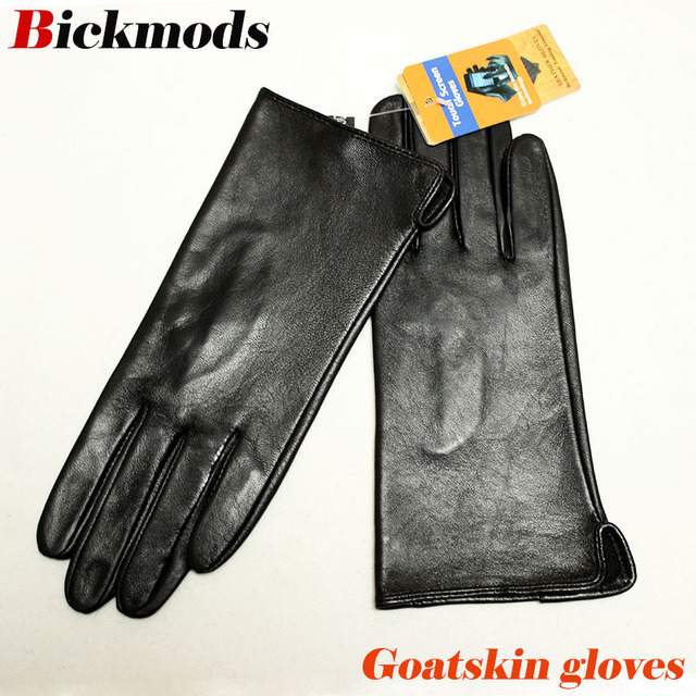 Leather goatskin gloves womens thin touch screen straight style unlined 100% sheepskin gloves outdoor driving driver gloves