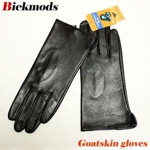 Image 1 - Кожаные перчатки goatskin, женские тонкие перчатки с сенсорным экраном, прямые, без подкладки, 100% овечья кожа, уличные перчатки для вождения
