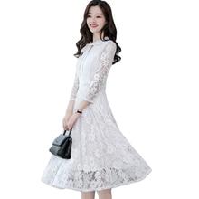 4645a06313887 2019 Women Elegant White Lace Dress Female Korean Floral Crochet Casual  Dress 3/4 Sleeve