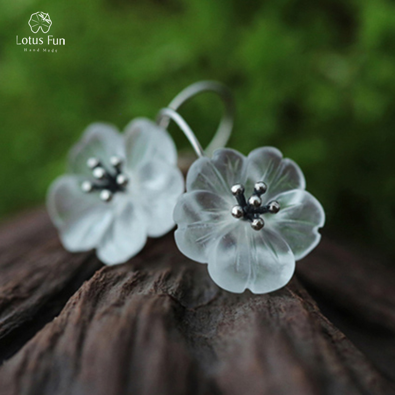 Lotus Fun 925 Sterling Silver Dangle Earing Handmade Natural Crystal Engagement Fine Jewelry Flower Hook Drop