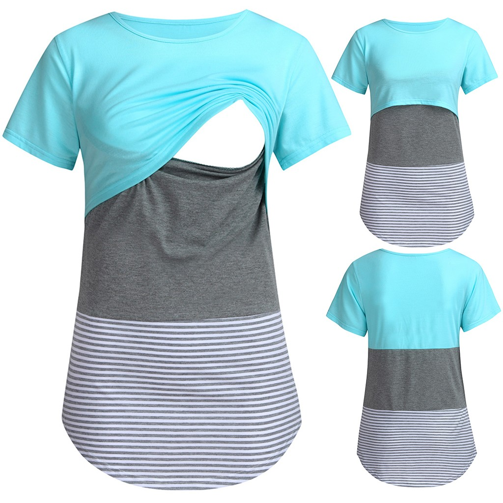 Blouses Feeding Cotton Maternity Shirt Pregnancy Tops Women Short Sleeve Striped Nursing Tops T-shirt For Breastfeeding z0612(China)