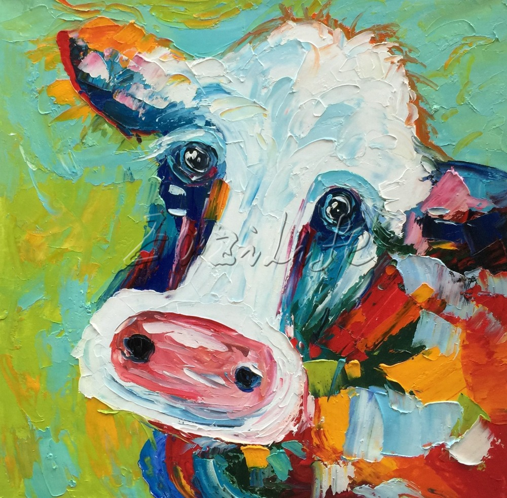 Cow Painting Canvas Acrylic Painting Wall Art Pictures For Living