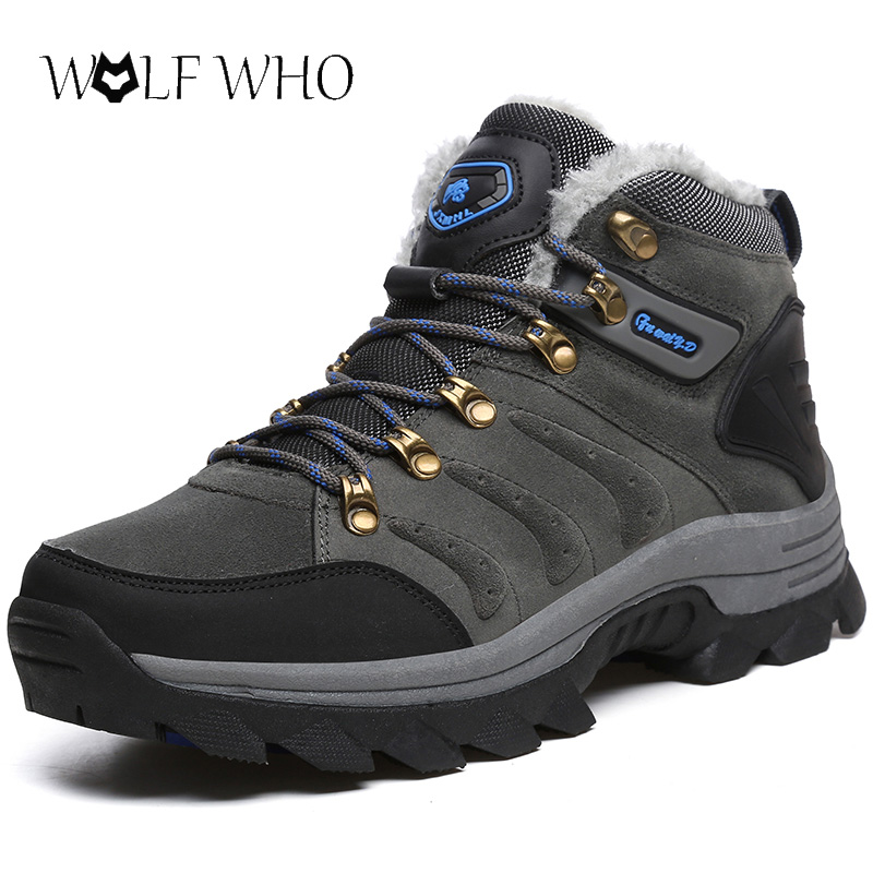 Süß GehäRtet Wolf, Die Männer Stiefel Für Männer Schuhe Winter Schnee Stiefel Warm Halten Pelz Plüsch Lace Up High Top Mode Männer Arbeits Schuhe Turnschuhe Stiefel