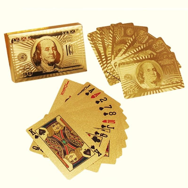 все цены на Golden Playing Card Deck Magic Trick 24K Gold Poker Plastic Playing Card set gold foil $100 Franklin Logo Waterproof Cards 81256 онлайн