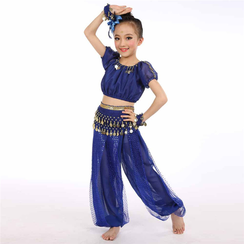 New Arrivals New Handmade Children Girl Belly Dance Costumes Kids Belly Dancing Egypt Dance Cloth +Tops Pants #0604