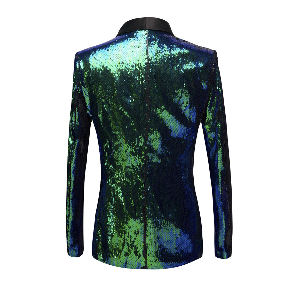 PYJTRL New Mens Shawl Lapel Shiny Green Blue Sequins Blazers DJ Night Club Slim Fit Suit Jacket Stage Singers Costume Prom Dress