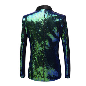 Image 2 - PYJTRL New Mens Shawl Lapel Shiny Green Blue Sequins Blazers DJ Night Club Slim Fit Suit Jacket Stage Singers Costume Prom Dress
