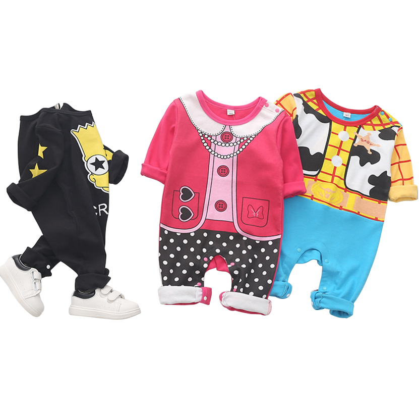 Baby boy Clothes Cotton Fabric Newborn baby girl's jumpsuit long Sleeve   Rompers   Cartoon Spring Outfit for kids clothes