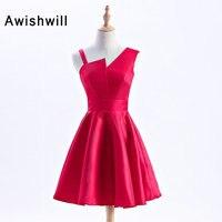 New Cheap Red Stain A Linha de Vestidos de Baile 2018 Elegante Vestido de Festa à noite Plus Size Especial Ocasião Vestidos Curto Baile vestido
