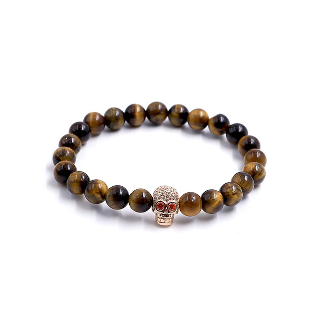 2017 New Fashion Natural Stones Skull Bracelet Lava Stone Beads and Tiger Eye Stone Beads Men Bracelet JEW01430