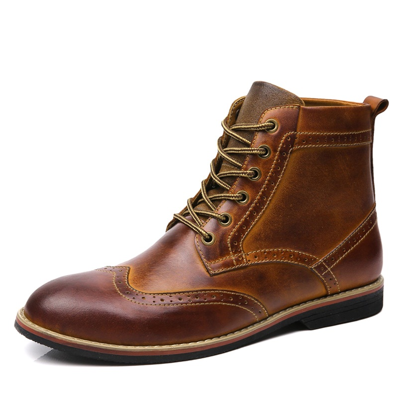 ФОТО 2016men shoes Genuine Leather brogue Oxfords shoes Men's Ankle Martin boots British Style western cowboy boot Outdoor Work Shoes