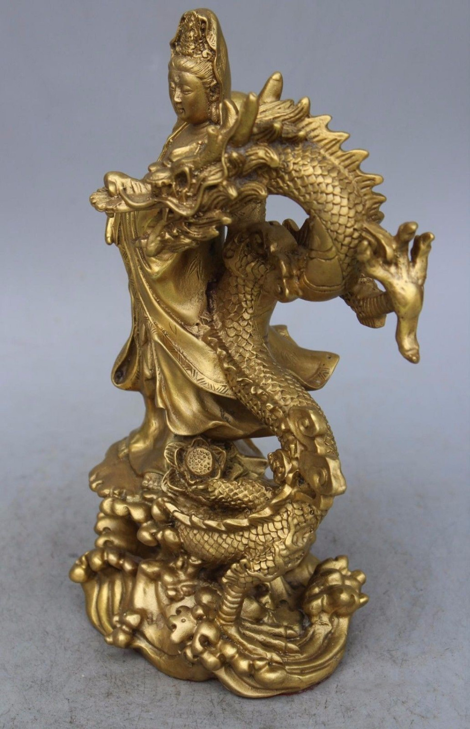 China Brass Dragon kwan-yin GuanYin Goddess buddha statue