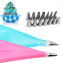 16PCS/SET Silicone DIY Icing Piping Cream Pastry Bags + 14PCS Nozzle Set Cake Decorating Tools Mould + Coupler Converter