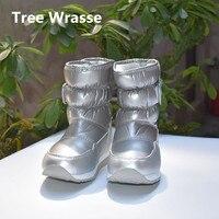 Tree Wrasse Girls Waterproof Boots Winter Children Snow Boots Kids Warm Plush Anti Skid Snow Boots