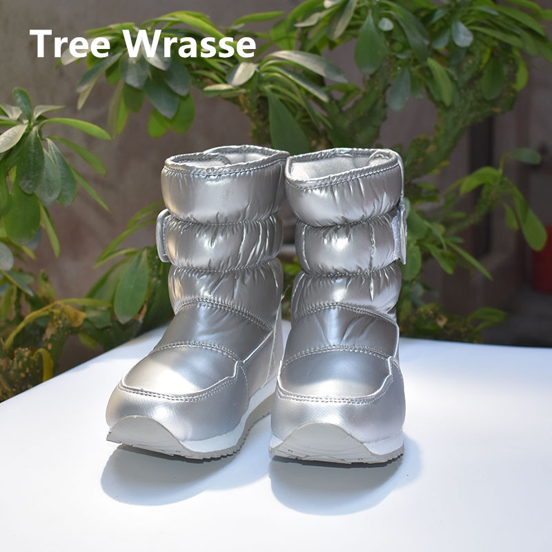 купить Tree Wrasse Girls Waterproof Boots Winter Children Snow Boots Kids Warm Plush Anti-skid Snow Boots For Boys New Cotton Shoes по цене 1141.68 рублей
