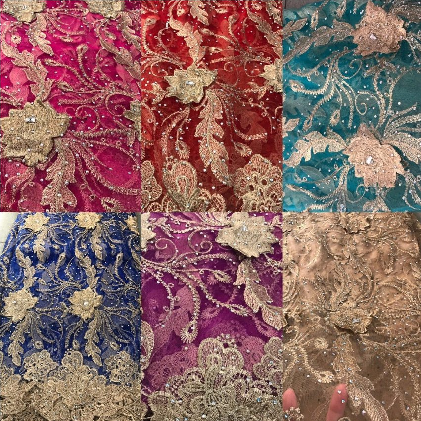 Hot Sell Africa full stones 3D flowers French Gold lines lace fabric materials High Quality Lace Materials For Wedding or partyHot Sell Africa full stones 3D flowers French Gold lines lace fabric materials High Quality Lace Materials For Wedding or party