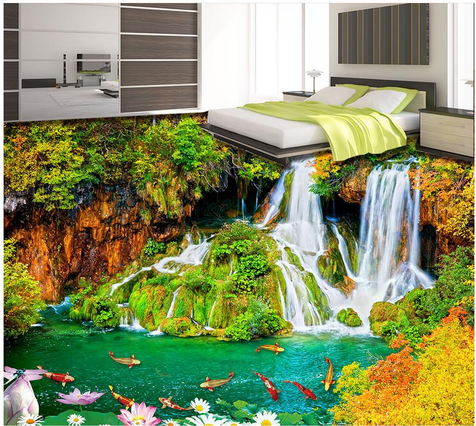 3d wallpaper 3d floor murals pvc outdoor waterfall flowing for Poster pour salle de bain