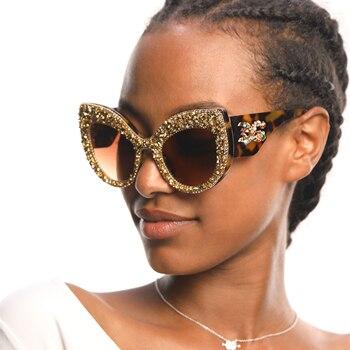 330908a174 2019 nuevas gafas de sol de moda para mujer con ojo de gato vintage de gran  tamaño de marca de diseñador Bling diamante gafas de sol para hombres y  mujeres