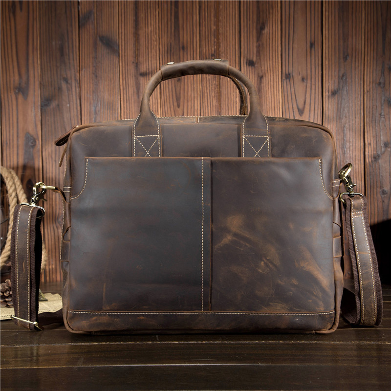 Luxury European Style Natural Crazy Horse Leather Men's Handbag Big 15