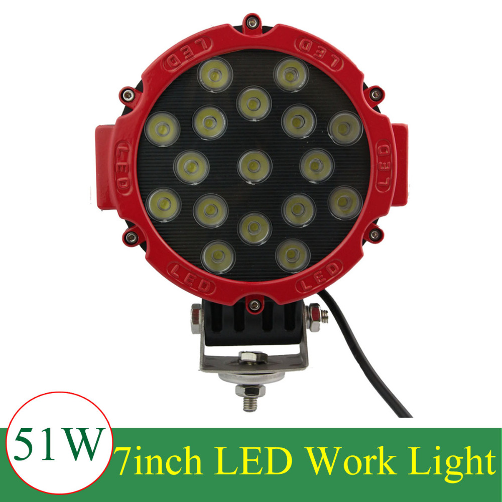 51W Car Cree LED Work Light for Indicators Motorcycle Driving Offroad Boat Car Tractor Truck SUV ATV spot lamp 12V 24V ledtech 20w cree led work light 12v 24v 1700 lumen spot flood lamp for truck suv boat 4x4 4wd atv